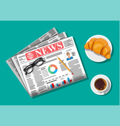 newspaper with croissant cup coffee pencil vector image