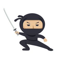 Ninja character serious ninja with sword flat vector