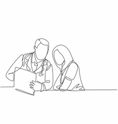 one continuous line drawing young male doctor vector image