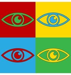 Pop art eye icons vector