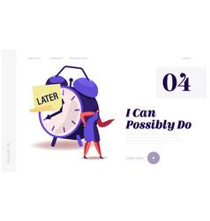 Procrastination delay bad time management website vector