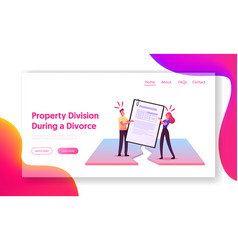 property division process landing page template vector image