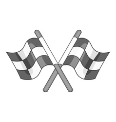 Racing flags icon black monochrome style vector image