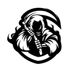 Reaper mascot logo silhouette version grim vector