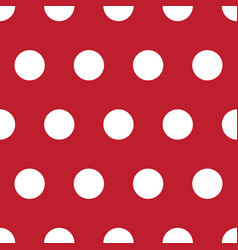 Red and white polka dot seamless repeating pattern vector