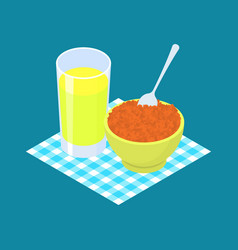 Red lentils porridge and fruit juice breakfast vector