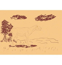 Rural Landscape with a Sheep2 vector image