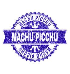 Scratched textured machu picchu stamp seal with vector