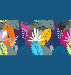 seamless pattern with color leaves background vector image