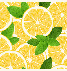 seamless pattern with lemon and mint on white vector image