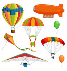 set blimp paraglider and kite air balloon and vector image