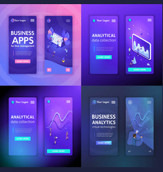 set of website templates for business technologies vector image
