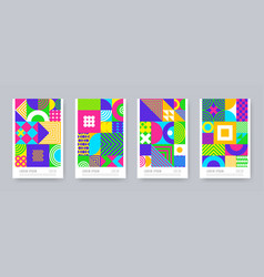 set posters with geometric shapes and pattern vector image