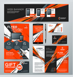 Set stationery design templates corporate vector