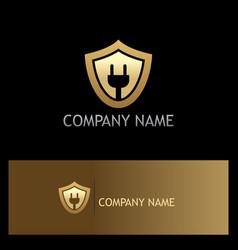shield electric save guard gold logo vector image