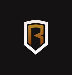 Shield letter r logo icon vector