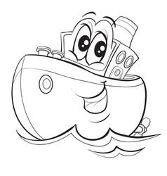 Ship character with big eyes cute cartoon vector