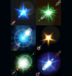 Six bright multicolored stars vector