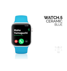 Smart watch with blue bracelet realistic vector