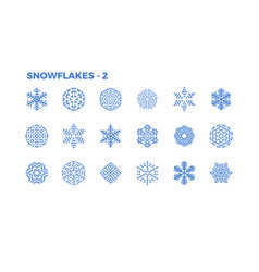 snowflake icons decorative elements winter vector image