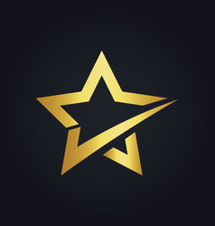 star check shape gold logo vector image