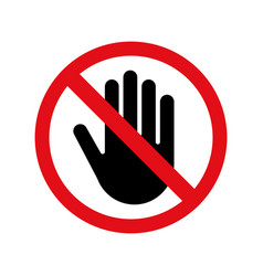 Stop hand no entry sign icon vector