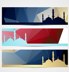 stylish set of ramadan headers vector image
