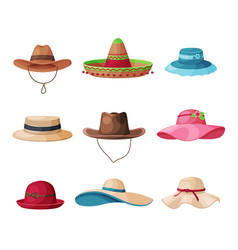 summer hats collection straw and textile vector image