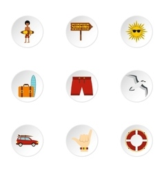 Surfing icons set flat style vector