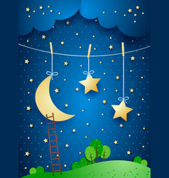 surreal night fantasy vector image
