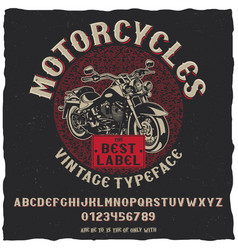 Vintage label typeface motorcycles poster vector