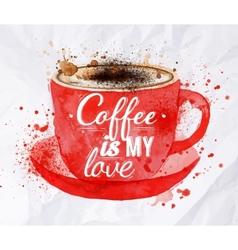Watercolor red cup cappuccino vector