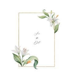 watercolor wreath lily flowers and green vector image