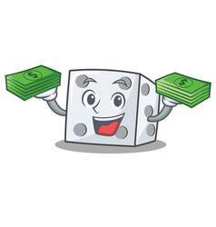 With money dice character cartoon style vector