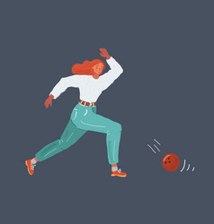 woman with bowling ball vector image
