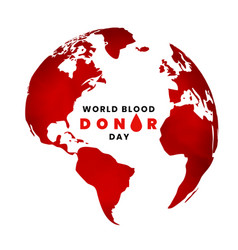 World blood donor day background with earth map vector