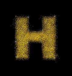 gold dust font type letter h vector image