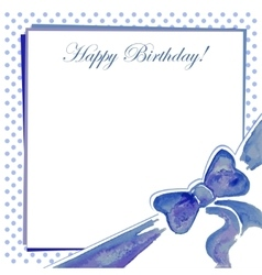 Greeting card with a bow blue vector image