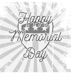 Happy Memorial Day Shield with Text vector image
