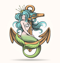 mermaid with crown on the anchor vector image