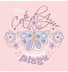 Azure coast with butterfly and flowers vector image vector image