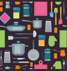 cartoon cookware background pattern vector image