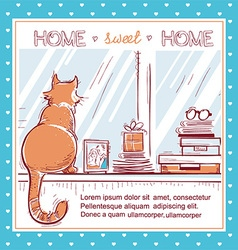 Home sweet home cardWindowsill with home love vector image vector image