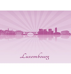 Luxembourg skyline in purple radiant orchid vector image
