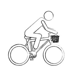 Monochrome sketch pictogram of man in sport bike vector