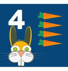 Number 4 - Rabbit with four carrots vector image vector image