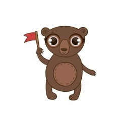 Toy Brown Bear With Flag vector image vector image