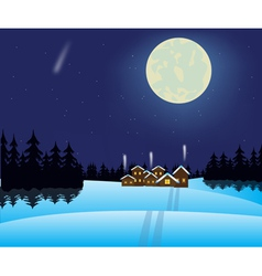 Winter night and village in wood vector image vector image