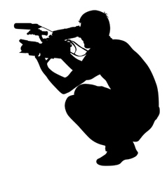 Cameraman with video camera Silhouettes on white vector image vector image