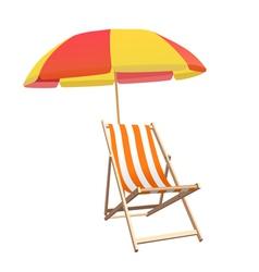 Chair and beach umbrella vector image vector image